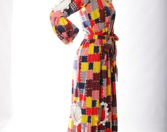 FREE US SHIPPING Patchwork Print Hippie Princess Maxi Dress with Pom Poms
