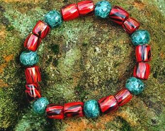 Bead Bracelet- Handmade Polymer Clay Bracelet Artisan Crafted Tribal Bracelet - Splendid !