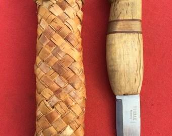 Custom Helle Norway bushcraft sheath knife with handmade Birch bark sheath