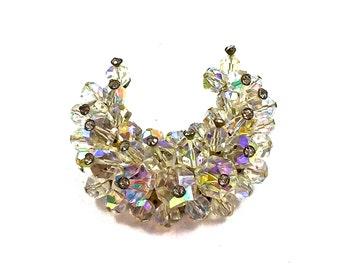 AB Crystal Bead Brooch, Half Moon, Crescent, Clear Rhinestone Tips, Aurora Borealis Crystal Pin, Vintage Jewelry, 1940's