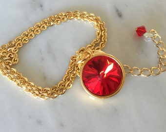 Light Siam Crystal Necklace, Swarovski Light Siam Necklace, Swarovski Light Siam Pendant, Red Crystal Pendant