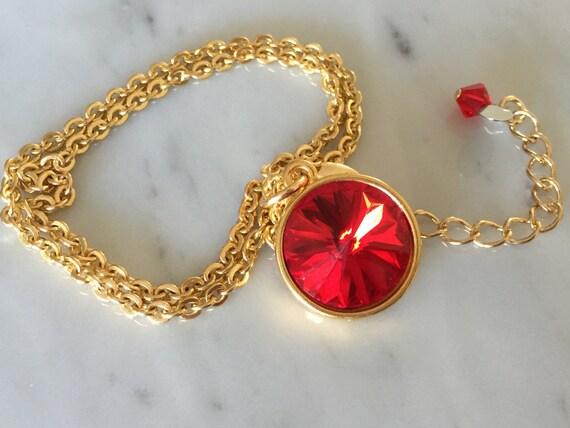 Light Siam Crystal Necklace, Swarovski Light Siam Necklace, Swarovski Light Siam Pendant, Red Crystal Pendant