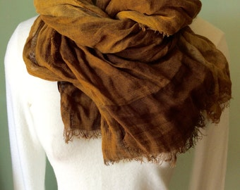 Coffee brown Irish linen scarf