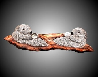 Twin Sea Otters Version 2 Wall Sculpture-hand carved in Alder wood