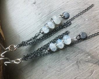 SALE12 Rainbow Moonstone Earrings 925 Sterling Silver Moonstone Earrings Oxidized Artisan Moonstone Earrings Moonstone Jewelry - Waterfall E