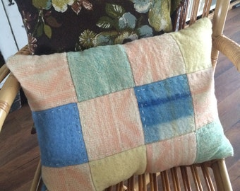 Pastel pillow of vintage wool blankets