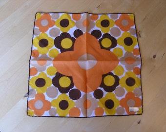 Vintage hanky, orange, yellow flowers Fisba Stoffels