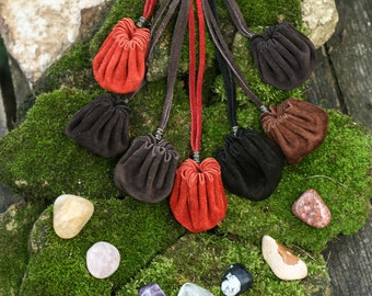 Medicine Bag, Medicine Pouch, Leather Amulet Bag, Leather Amulet Bag with crystal, wholesale