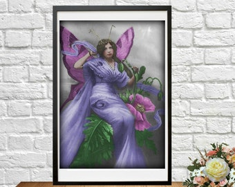 Printable Fairy Purple French Postcard Butterfly Ephemera Photograph Instant Download Art Nouveau Woman Altered Art Vintage Digital