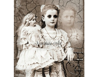 Ghost Photo Doll Girl Photo Victorian  Altered Art Halloween Creepy Cabniet Card Scary Child Instant Download Ephemera Scrapbook Card