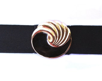 Vintage Kandell and Marcus black swirl belt, enamel ocean wave seashell buckle, black elastic stretch belt, golden yin yang curl size small