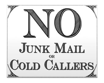 "NO Junk Mail Cold Callers Metal Sign 8x10"" Office Property"