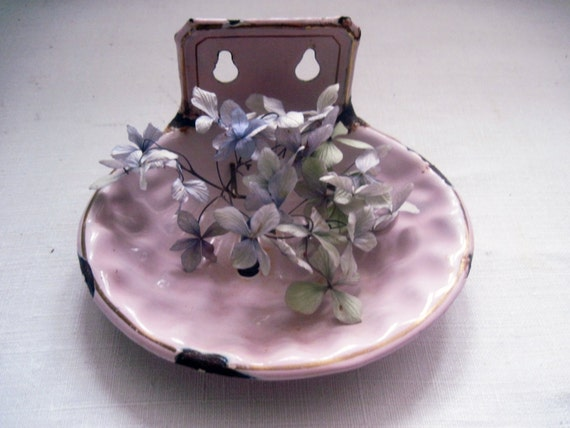 Pink Enamel Soap Dish French Vintage