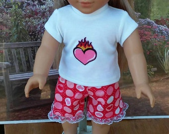 Heart shorts set for American Girl 18 inch dolls,Fashion Doll Apparel,Handcrafted in USA,clothing for 18 inch dolls,