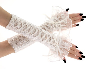 Bridal ivory lace fingerless gloves, bridal gloves, bridesmaid gloves, gloves  wedding or shabby chic style, women's fingerless gloves 0435