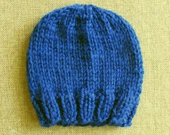 Cuddly Navy Blue Knit Newborn Hat