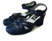 Chunky 90s Heels-Blue Velvet Shoes-Size 7 1/2-Studio HD-Soft Grunge-Strappy Heels