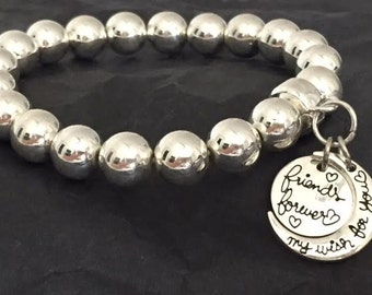 FRIENDS FOREVER -  Silver Beaded Bracelet