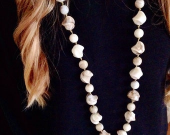 Bead Necklace Celluloid Necklace Vintage Necklace Long Necklace Marble Beads Coffee And Cream