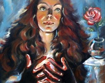 oil painting - figurative art - surrealism - canvas art - original painting - portrait - woman - modern art - symbolism -  candle - fine art