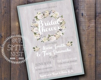 Soft Bridal Shower Invitation DIY PRINTABLE Customizable Digital Prints