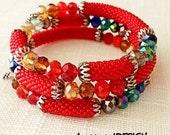 Memory Wire Bracelet, Boho Chic Jewelry, Red Beaded Bracelet, Beadwork Wrap Bracelet, Colorful Layered Bracelet, Bead Crochet Bangle, B-15