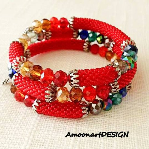 Memory Wire Bracelet, Boho Chic Jewelry, Red Beaded Bracelet, Beadwork Wrap Bracelet, Colorful Layered Bracelet, Bead Crochet Bangle, B-15