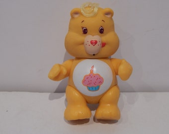 "Vintage Poseable 3 1/2""  PVC Care Bear Figure Birthday Bear Kenner 1980s"