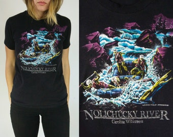 Vtg T Shirt Carolina Wilderness || Vintage Tee || Nolichucky River Water Rafting Outdoor || X-Small Small || Free Shipping in USA