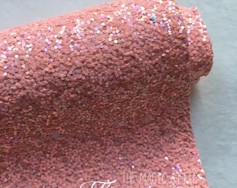 Frosted Glitter Fabric - Flamingo