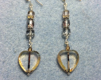 Tan and gray Czech glass heart bead dangle earrings adorned with gray Czech glass beads.