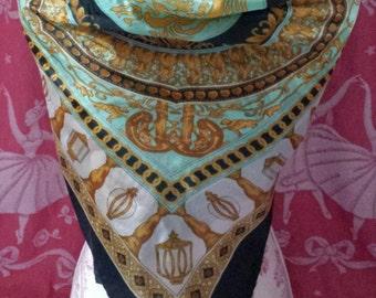 Vintage Classical Design Silk 1980s Scarf
