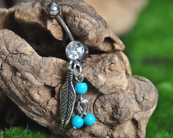 Feather and Turquoise Belly Ring
