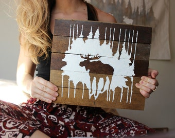 forest moose mini, original reclaimed wood art