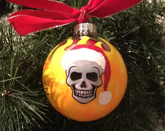 Personalized Skull with Flames Christmas Ornament