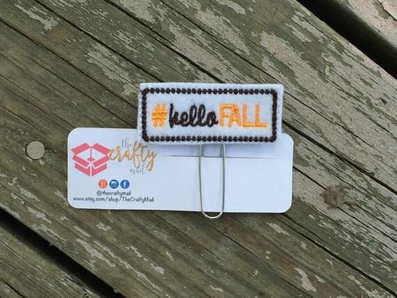 Hashtag Hello Fall Paper Clip/Planner Clip/Bookmark. Fall planner clip.