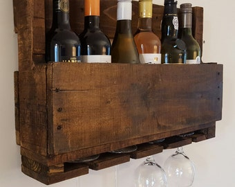 Unique pallet wood wine rack holds between 6 bottles and 4 glasses handmade from reclaimed wood