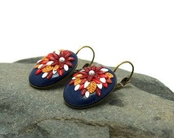 Blue flower earrings, floral brown red marron earrings, delicate dangle earrings, anniversary gift for her, charm earrings, special occasion