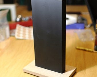 Large Un-Named 304 Stainless Steel Monolith with Cerakote Gen II IR Black coating - Oak Stand - Signed