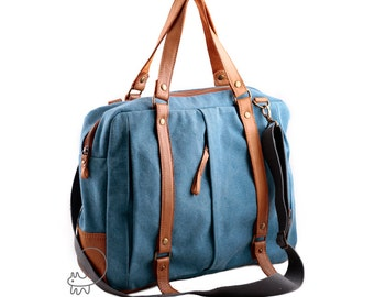 Men canvas messenger bag, canvas leather bag, crossbody messenger bag, men's bag, women's bag, laptop canvas leather bag, convertible bag