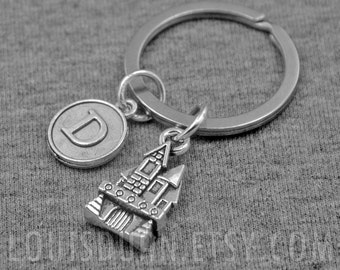 Castle Key chain -Fairy Tale Castle Keychain -Princess Keychain -Initial Charm Keychain -Your Choice of A to Z