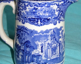 George Jones Abbey Pattern Coffee Pot.   Early 1900's  Blue and White