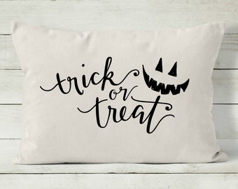 halloween pillow halloween decor trick or treat decorative throw pillow cover - Etsy Halloween Decorations