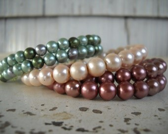 Beaded Cuff Bracelets (SOLD SEPARATELY) Vintage Faux Pearls Metallic/Pearlescent Colors/Stocking Stuffer/Christmas Gift