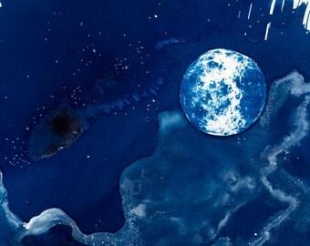 Venus / Original Fine Art CYANOTYPE / Outer Space Art