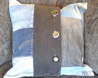 "Throw pillow - upcycled denim - recycled jeans - 16"" x 16"""