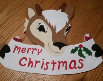Merry Christmas Wooden Reindeer door sign