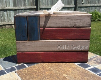 Patriotic Theme Home Decor Wood Blocks {American Flag, Independence Day, Stars & Stripes, July 4th}
