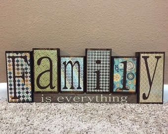 Family Theme Home Decor Wood Blocks - Family is Everything