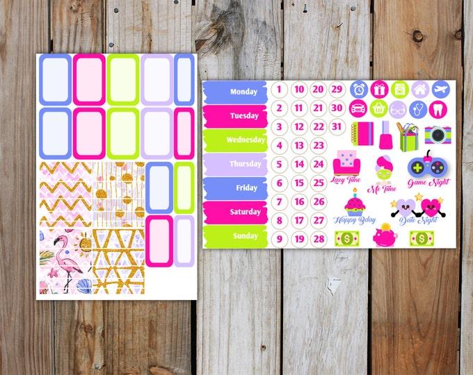 Glitter Summer Planner Stickers Kit (7 pages)   Summer Planner Sticker Kit   for use with ERIN CONDREN LifePlanner